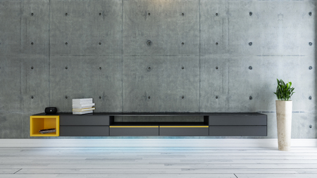 tv room, salon or living room with covered concrete wall plant and black tv stand design