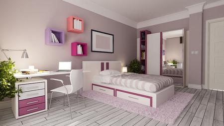 teen girl bedroom interior design idea Reklamní fotografie - 84190863