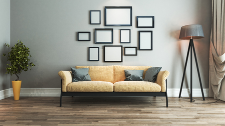 living room interior design with yellow and black seat and picture frame on wall 3D rendering Zdjęcie Seryjne