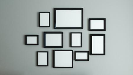 foto of foto kunst op vintage muur met zwart randframe 3D-weergave