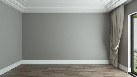lege kamer interieur ontwerp achtergrond met gordijn 3D rendering