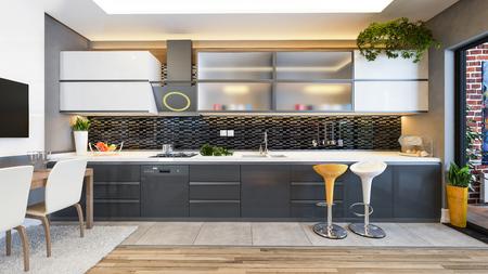 keukenontwerp zwart keramiek met vers fruit- en keukenmachines 3D-rendering