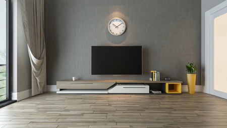 tv stand with plant in the room decor idea 3D rendering Zdjęcie Seryjne - 84247780