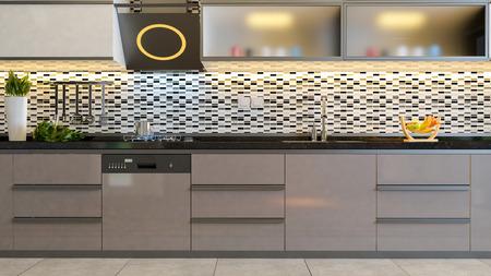 cocina de diseño negro blanco de cerámica con muebles cappuccino diseño 3D rendering Foto de archivo