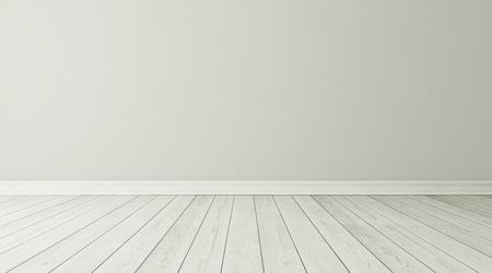 Lege kamer interieur achtergrond met witte parket 3D rendering Stockfoto