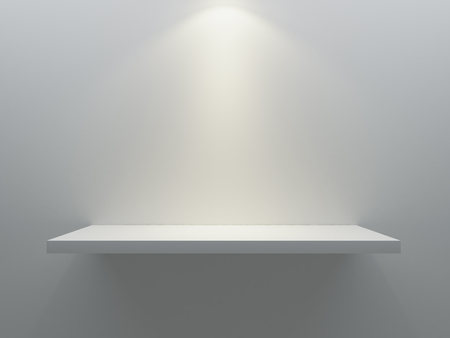 empty shelf stand on the wall with spot light 3D rendering