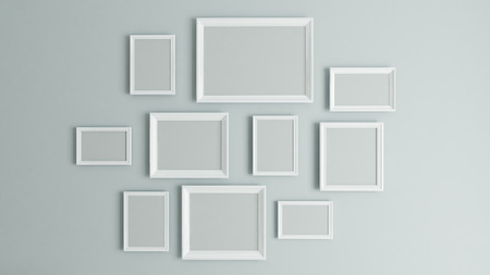 photo or picture art on vintage wall with white border frame 3D rendering Reklamní fotografie - 84247779