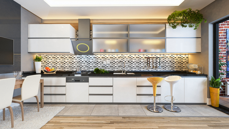 keuken design wit keramiek met vers fruit- en keukenmachines 3D-rendering