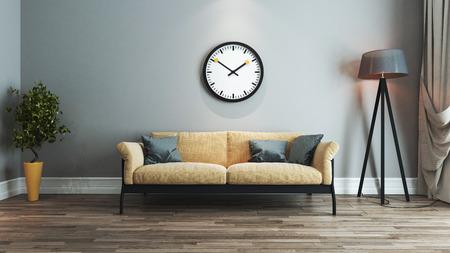 woonkamer interieur met geel en zwart stoel en kijk op de muur 3D-rendering