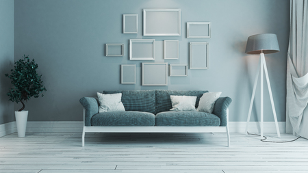 blauwe kleur woonkamer interieur ontwerp met blauwe stoel en witte rand foto frame 3D-rendering Stockfoto