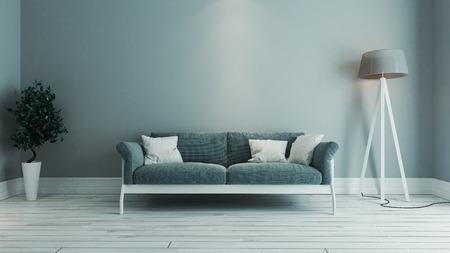 blauwe kleur woonkamer interieur ontwerp met blauwe stoel en groene plant 3D-rendering