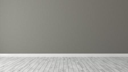 bruine muur achtergrond met wit parket in de kamer decoratie idee 3D-rendering Stockfoto