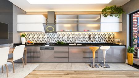 cappuccino kleur keuken design zwart wit keramiek met vers fruit- en keukenmachines 3D-rendering