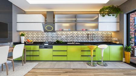 Groen kleur keuken design zwart wit keramiek met vers fruit- en keukenmachines 3D-rendering