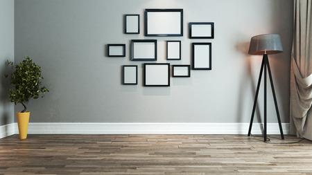 woonkamer interieur met foto frame op muur 3D rendering