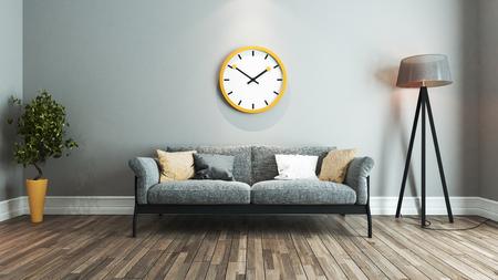 woonkamer interieur ontwerp met geel en zwart stoel en groot geel horloge op de muur 3D-rendering