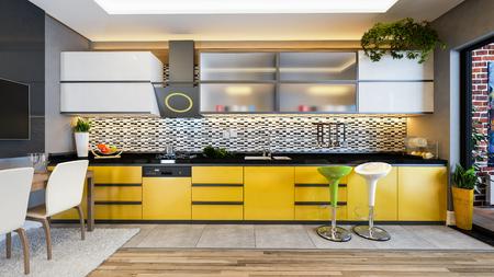 geel kleur keuken design zwart wit keramiek met vers fruit- en keukenmachines 3D-rendering Stockfoto