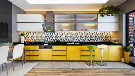 yellow color kitchen design black white ceramic with fresh fruit and kitchen machines 3D rendering Zdjęcie Seryjne