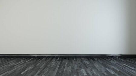 Light brown wall empty room with black wooden floor 3d rendering
