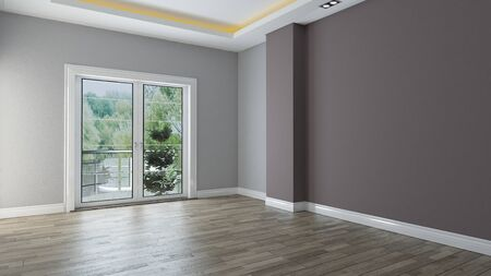 two color wall empty room interior design with wooden floor 3d rendering  Banque d'images