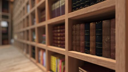 wooden bookshelf full of books from library with modern and classic books deep of field effect 3D rendering