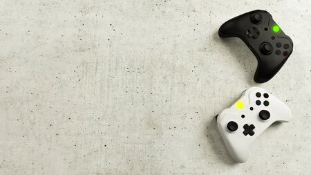 Game competition. White and black joystick with concrete background 3D rendering Reklamní fotografie