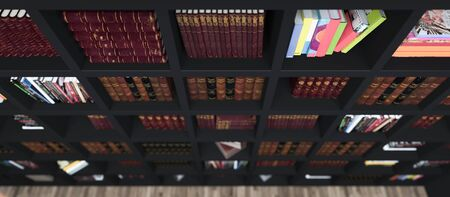 wooden bookshelf full of books from library with modern and classic books deep of field effect tom view 3D rendering Zdjęcie Seryjne