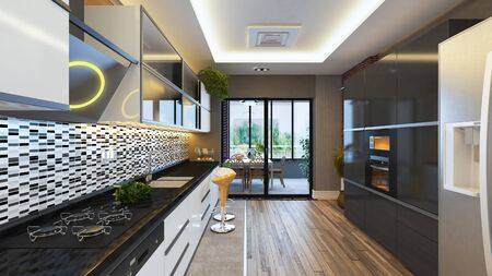 modern kitchen design with balcony realistic 3D rendering