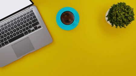 Laptop and blue cup and small plant on yellow desk background realistic 3D rendering