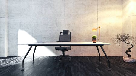 Workspace table with seat, plant, desk light and black wooden floor realistic 3D rendering