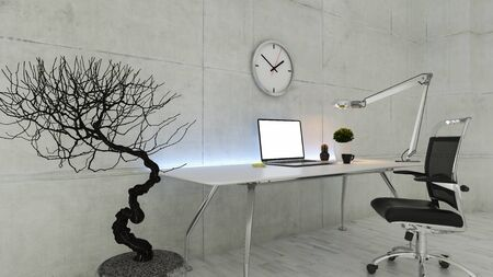 Office workspace with seat, dry plant, desk light and white wooden floor realistic 3D rendering