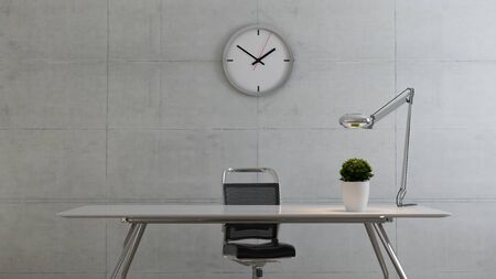 Workspace table with seat, plant, desk light and watch realistic 3D rendering