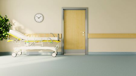 stretcher in front of hospital room door with plant, floor and watch realistic 3D rendering