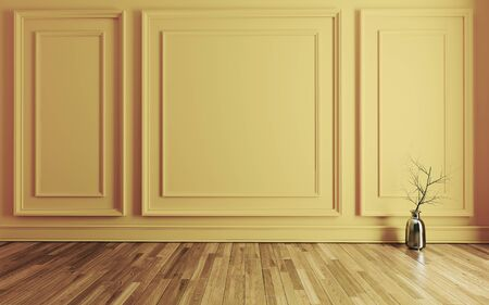 Empty room with Modern classic yellow wall triple panels, metalic vase, dry plant and wooden floor realistic 3D rendering Reklamní fotografie