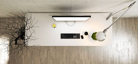 Work space stand mock up with table and plant, monitor, cup; sticker, table lamp top view concrete wall realistic 3D rendering Reklamní fotografie