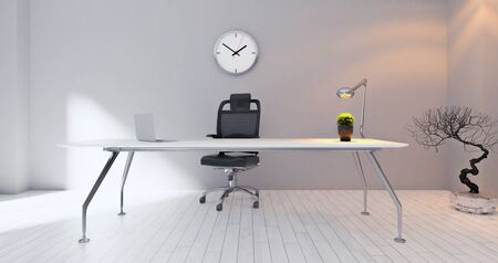Modern office workplace with painted wall, plant, laptop, desk lamp and watch realistic 3D rendering