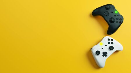 Game competition. White and black joystick with yellow background realistic 3D rendering
