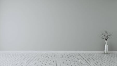 empty room with dry plant in chrome vase and white wooden floor realistic 3d rendering