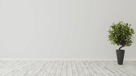 salle vide avec plante verte dans un vase noir et sol en bois blanc rendu 3d réaliste Banque d'images
