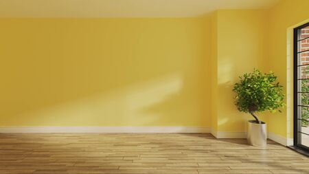 painted yellow wall in empty room with wooden parquet floor, plant, balcony and sunlight from window on the wall realistic 3D rendering