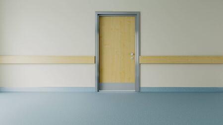 epmty hospital corridor and room door with floor realistic 3D rendering
