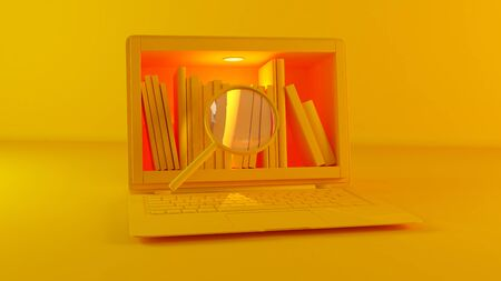 Library in laptop screen, magnifying glass, online education and search yellow color realistic 3D rendering