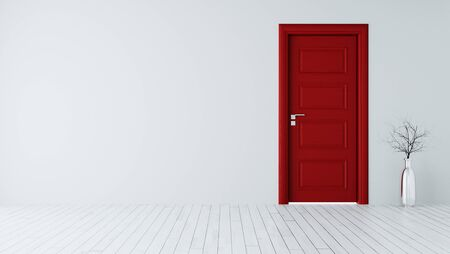 White wall with red closed door, white wooden floor, chrome vase and dry plant realistic 3D rendering