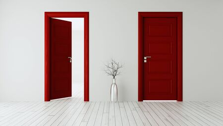 White wall with red opened door and closed door, white wooden floor, chrome vase and dry plant realistic 3D rendering