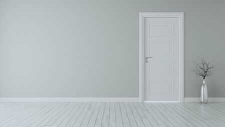Grey wall with white closed door, white wooden floor, chrome vase and dry plant realistic 3D rendering