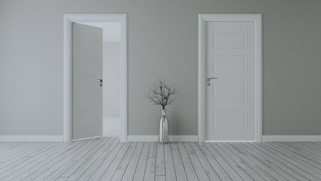 Grey wall with white opened door and closed door, white wooden floor, chrome vase and dry plant realistic 3D rendering