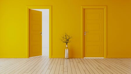 yellow wall with yellow opened door and closed door, white wooden floor, chrome vase and dry plant realistic 3D rendering