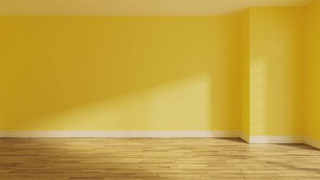 painted yellow wall in empty room with wooden parquet floor and sunlight from window on the wall realistic 3D rendering
