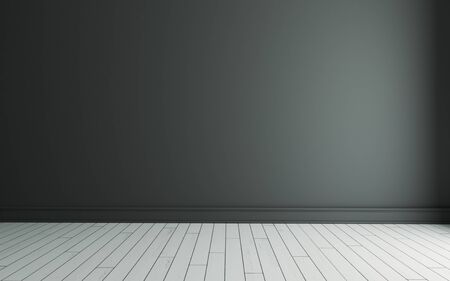 Empty room with black painted wall and white wooden floor realistic 3D rendering