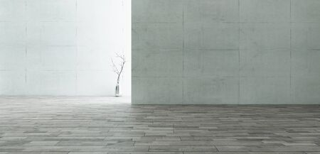 backlight empty room consisting of concrete walls with wooden floor surface and chrome vase realistic 3d rendering